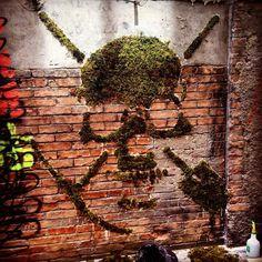 """Moss Street Art - The work of Green in Grenoble, France #streetart #streetartnews #mossgraffiti 11/2015"