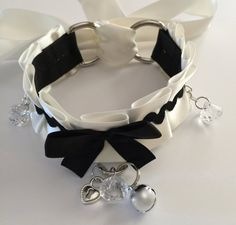 Black and White Submissive Naughty Maid Collar by TheFlirtyKitten