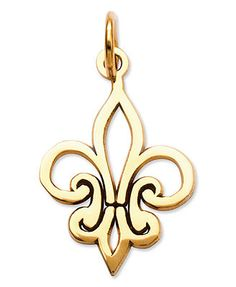 Fabulously french! This adorable Fleur-de-Lis charm features a crafty cut-out design in 14k gold. Chain not included. Approximate length: 9/10 inch. Approximate width: 1/2 inch.   Photo may have been