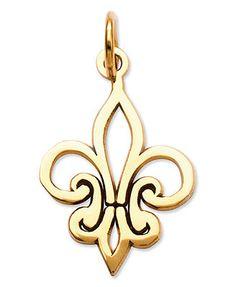14k Gold Charm, Fleur De Lis Charm