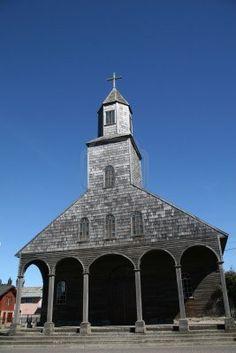 Iglesia de Anchao en la Isla Quinchao, Chiloé provincia, Chile