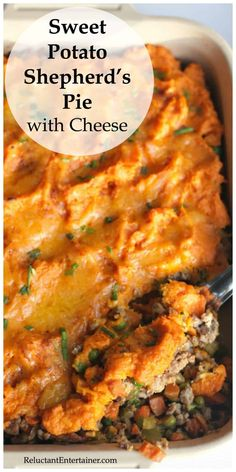 Enjoy Sweet Potato Shepherd's Pie with Cheese Recipe, made with two different kinds of delicious cheese, ground turkey, and sweet potaotes! Ground Beef Sweet Potato Recipe, Ground Turkey Recipes, Sweet Potato Recipes, Sweet Potato Shepards Pie, Sweet Potato Hash, Sweet Potato Casserole, Turkey Shepherds Pie Recipe, Turkey Pie, Cheese Recipes