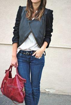 black jacket & red leather handbag