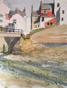 Another watercolour of a slightly different view of Roxby Beck in Staithes
