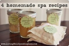 4 simple homemade spa treatment recipes using ingredients you probably already have on hand--great Christmas gift idea!     #homemade #spa #treatment #recipe