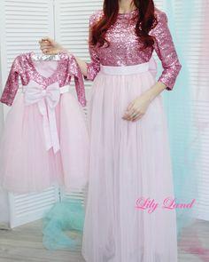 Mom Daughter Matching Dresses, Mom And Baby Dresses, Dresses Kids Girl, Children Dress, Pink Wedding Dresses, Pink Dresses, Dress Wedding, Wedding Bridesmaids, Bride Dresses
