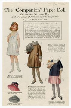 The Companion Paper Doll Series:  Introducing Margery May; magazine paper doll by M. Emma Musselman; 1920