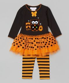Looking ahead to Halloween with Claire!     Look what I found on #zulily! Black Owl 'Boo' Tutu Dress & Leggings - Infant #zulilyfinds