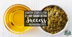 The 21-Day Sugar Detox is great for breaking a sugar addiction.Prepare yourself with these 34 pantry staples for 21-Day Sugar Detox success!