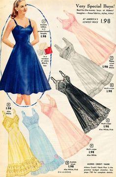 Lingerie what-i-found: Aldens Catalog - Slips, Panties and Jayne Mansfield's Pajamas! Vestidos Vintage, Vintage Dresses, Vintage Outfits, 1950s Dresses, Vintage Clothing, Retro Lingerie, Jolie Lingerie, Moda Vintage, Vintage Sewing