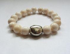 White Stone & Silver Stretch Bracelet Agate A276 by JRockJewelry, $25.00