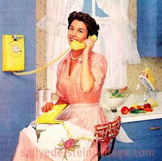 A pretty 1950s homemaker taking a quick break from looking lovely and keeping her house in spic-and-span shape.