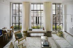 Modern vintage living room. Drapery added.