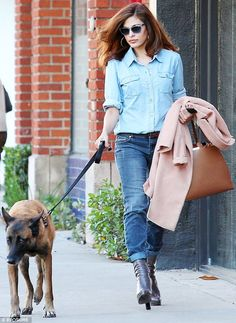 No easy feat: Eva Mendes pulled off the difficult trend of double denim in West Hollywood on Wednesday