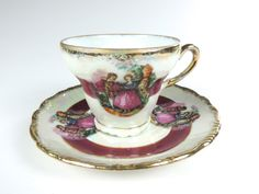 Courting Couple Cup and Saucer, Pearlescent, Mother of Pearl Porcelain, Fragonard, Lusterware by Bluebowvintage on Etsy