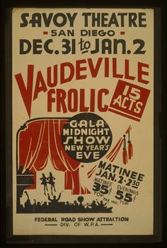 classic posters, federal art project, federal theater, free download, graphic design, retro prints, theater, vintage, vintage posters, wpa, Vaudeville Frolic Gala - Vintage Federal Theater WPA Poster