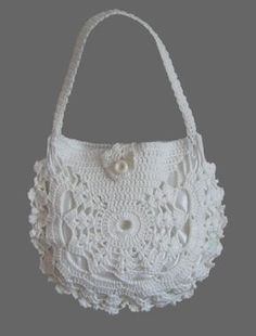Items similar to Ladies crochet summer handbag / White summer bag/ Purse on Etsy Diy Crochet Bag, Crochet Purse Patterns, Bead Crochet, Irish Crochet, Crochet Lace, Crochet Summer, Crochet Flowers, Summer Handbags, Summer Bags