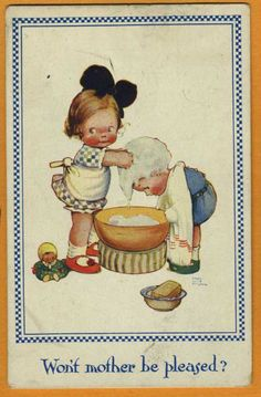 Early Mable Lucie ATTWELL Girl washing child hair wash