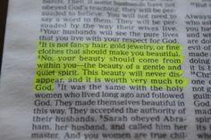 It's one of my favorite verses. 1 Peter 3:4