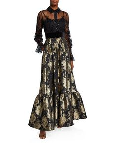 Long-Sleeve Lace Top & Brocade Skirt Combo Shirtdress by Badgley Mischka Collection at Neiman Marcus Badgley Mischka, Unique Formal Dresses, Glamorous Evening Gowns, Sheer Lace Top, Gowns With Sleeves, Bergdorf Goodman, Ruffle Dress, Fashion Dresses, Shirt Dress