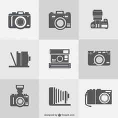 Free vintage photo cameras vector collection Free Vector