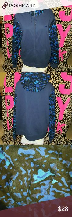 Nike camo hoodie Mens size xl black and blue nike camo zip up hoodie. Nike Shirts Sweatshirts & Hoodies