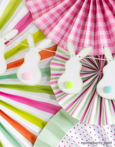 Make sure you catch Peter Cottontail and all of his friends hopping down the bunny trail this spring with this fun bunny tails banner. This banner comes with fluffy pom pom tails to attach to each bunny. Perfect for Easter gatherings, egg hunts, or even as an accent in your mantel display. This cheery bunny banner would be a sweet addition to any springtime baby shower or spring time tea party that you are planning. 16 acrylic pom poms: aqua, pink, orange, and lime Sheet of double sided adhesive