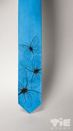 Butterfly wings tie.  Mens blue necktie with insect by tiestory