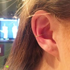 """Rocking the """"It piercing"""" right now doesn't require an ear full of jewelry. """"I am seeing girls who don't have much pierced in their ears actually decorating their conch first,"""" Thompson says. """"I think that's really cool."""" #refinery29 http://www.refinery29.com/cool-ear-piercing-ideas#slide-5"""