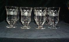 Fostoria Needle Etched Ice Tea Parfait Glasses (8)