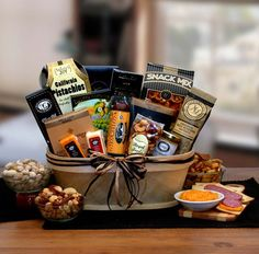 Delicious Gourmet Gift Basket. GWT Gift Baskets offer the most delicious gourmet gift baskets you can send. The widest collection of food basket and the most trusted gift basket company. #gourmetgiftbaskets #foodgiftbasket
