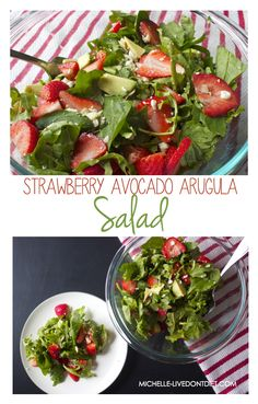 STRAWBERRY AVOCADO ARGULA SALAD- This healthy, colorful salad is a perfect balance of healthy fats, protein, and fresh fruits and vegetables. The arugula and spinach serves as the perfect bed to adorn what makes this salad delicious... the juicy strawberries, crunchy almonds, creamy avocado, and salty feta cheese.