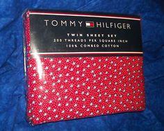 TOMMY HILFIGER RED BLUE FISH TWIN SHEET SET 200 TC 100% COMBED COTTON NIP $39.99