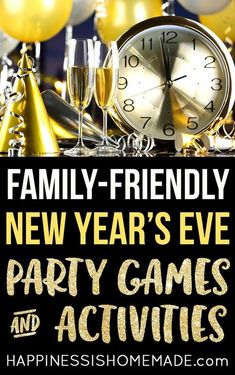 New Years Eve Party Games amp; Activities - Planning an all-ages New Years celebration Check out this list of fun family-friendly New Years Eve Party Game Ideas and Activities to help make your party perfect! Family New Years Eve, New Years Eve Games, New Years Eve Day, New Years Party, New Years Eve Party Ideas For Family, New Year's Eve Activities, Party Activities, Adult Party Games, Birthday Party Games