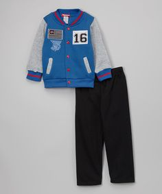 Look at this Girls Luv Pink Royal Blue & Gray '16' Varsity Jacket & Pants - Infant & Toddler on #zulily today!