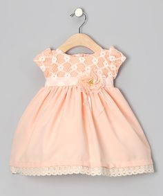 I LOVE THIS DRESS!  Peach Flower Embroidered Dress - Infant