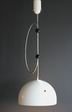 Joe Colombo; Painted Metal, Glass ans Plastic 'Spring' Ceiling Light, c1972.