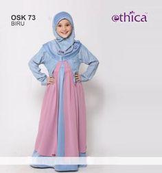 Baju Gamis Anak Ethica OSK 73 Biru - Promo Ramadhan Girls Party Dress, Girls Dresses, Dress Girl, Abaya For Sale, Kids Abaya, Cute Kids Photos, Dress Anak, Hijab Tutorial, Kids Fashion