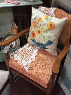 Awesome Vintage Chair! Reupholstered , original stain. Good Condition listed for $32.00. Located  at Brass Armadilo Antique Mall, Booth 140, Dealer 556. Shipping available for additional fee. Please call for a Shipping quote and to confirm availability (816) 847-5260.
