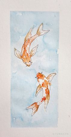 My first attempt on watercolor koi fishes Added some gold tubasyn Koi Fish Drawing, Fish Drawings, Art Drawings, Koi Dragon Tattoo, Koi Fish Tattoo, Koi Art, Fish Art, Koi Wallpaper, Koi Tattoo Design