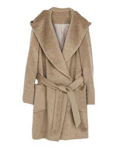 Patch-pockets Belted Hooded Long Woolen Coat | BlackFive