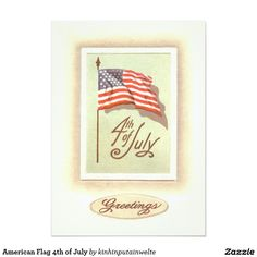 American Flag 4th of July 5x7 Paper Invitation Card