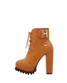 Metal-detailed Block-heel Lace-up #vegan #faux #Leather #Boots #shoes #heels $62  | #BlackFive #fashion #style #shopping #accessories #mystylespot
