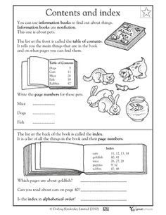 Table of contents and index - Worksheets & Activities | GreatSchools