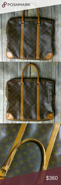 "Vintage Louis Vuitton Monogram Bag Vintage Authentic Louis Vuitton Bag Pre 80's Vintage Briefcase  Monogram Canvas Weekend/Travel Bag Louis Vuitton Before 1980's had no date code Talon Zippers Measurements: 15""L x 1.5""W x 14""H No rips or tears   Outside corners has some wear There are darker areas in the vachetta Inside has wear and cracking Louis Vuitton Bags"