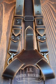 Custom Order for Grace M&G Natural, leather suspenders. This brown suspenders is made from genuine leather. Each element is hand-made. The thickness leather of Handmade Leather Wallet, Leather Gifts, Leather Craft, Leather Men, Leather Workshop, Leather Projects, Small Leather Goods, Leather Accessories, Brown Suspenders