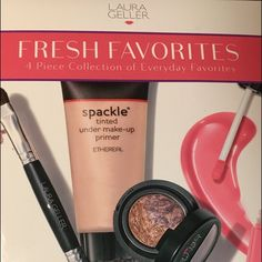 "Laura Geller 4 Set Collection of Everyday Favs This deluxe set by Laura Geller includes; Spackle tinted primer; Eyeshadow duo ""amethyst unearthed""; lip gloss ""Berry Smoothie""; and Double ended shadow liner brush.  NWT retail price $58. Laura Geller Makeup"