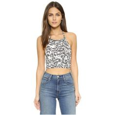 CLAYTON Nora Top (67 CAD) ❤ liked on Polyvore featuring tops, black sunflower, sleeveless crop top, halter neck top, floral top, floral sleeveless top and halter-neck tops