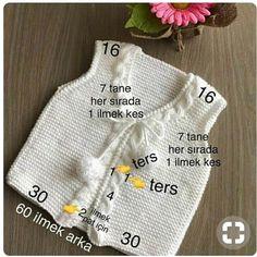 bebek-yelek-modelleri - Hard Tutorial and Ideas Baby Knitting Patterns, Knitting For Kids, Crochet For Kids, Baby Patterns, Baby Cardigan, Crochet Baby Jacket, Knit Crochet, Knitting Videos, Womens Fashion Online