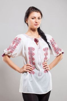 Ie Romaneasca – Chic Roumaine Traditional Outfits, Tunic Tops, Costume, Chic, Folk Art, Shirts, Inspiration, Beautiful, Collection